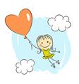 Little girl with heart balloon vector image