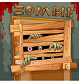 Zombie behind the wooden door vector image