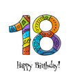 18th anniversary celebration greeting card vector image vector image