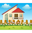 A big house inside the fence vector image vector image