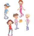 a Cute Little Girls and Boys vector image vector image