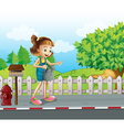 A girl walking in the street with a sprinkler vector image vector image