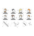 a set of eight portraits of men and women with vector image vector image