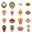 animals mouth open jaw with teeth or fangs vector image