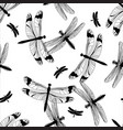 black and white dragonfly seamless pattern vector image vector image