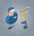 builder in uniform professional tools isometric vector image vector image