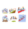 businessmen overcoming obstacles to achieving the vector image vector image