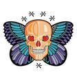 butterfly skull tattoo vector image vector image