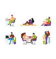 characters eating people sitting on table vector image vector image