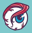 comic eyeball icon hand drawn style vector image