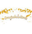 congratulations gold celebration background with vector image vector image