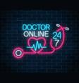 doctor online glowing neon logo neon doctors vector image vector image