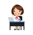 Female Cartoon Support Character at her Desk vector image vector image