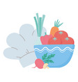 food fresh tomatoes carrot and chef hat isolated vector image vector image