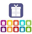 gift box with ribbon icons set flat vector image vector image