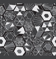 hand drawn doodle hexagons seamless pattern vector image vector image