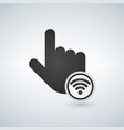 hand mouse pointer with wifi sign black isolated vector image