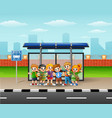 happy children in a bus sto vector image vector image