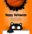 happy halloween cat and basketball ball vector image
