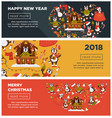 happy new year 2018 or christmas web banners vector image
