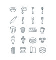 home baking tools flat thin line icons vector image