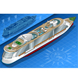 Isometric Cruise Ship in Rear View vector image