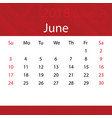 june 2018 calendar popular red premium for vector image vector image
