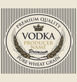label for vodka with wheat ears and crown vector image vector image