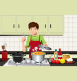 man cooking vector image