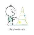 Man Dresses Up Christmas Tree vector image vector image