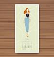 may hand drawn fashion models calendar 2016 vector image vector image