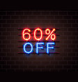 neon 60 off text banner night sign vector image