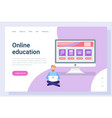 online education reading or studying pc vector image vector image