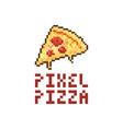 pixel pizza logo vector image