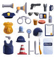 police equipment icons set cartoon style vector image