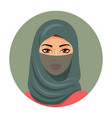 portrait of muslim woman using a green veil vector image