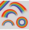 Rainbows set on transparent plaid vector image vector image