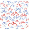 red blue bicycle silhouette seamless pattern vector image vector image