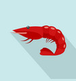 red shrimp icon flat style vector image
