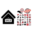 Sale Building Flat Icon with Bonus vector image