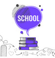 school background with violet speech bubble vector image vector image