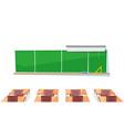 school classroom chalkboard and desks education vector image vector image