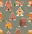 seamless pattern with cartoon house gingerbread vector image