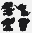 set of elephant silhouettes cartoon with different vector image