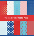 set of geometric seamless patterns with polka dot vector image