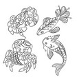 set of sea animals in graphic in vector image vector image