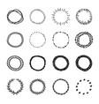 set vintage hand drawn circle shapes design vector image