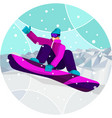 snowboarder performs a snowboard trick against a vector image vector image
