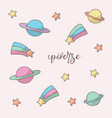 space objects hand drawn color universe on white vector image vector image