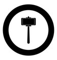 stick holder for selfie black icon in circle vector image vector image